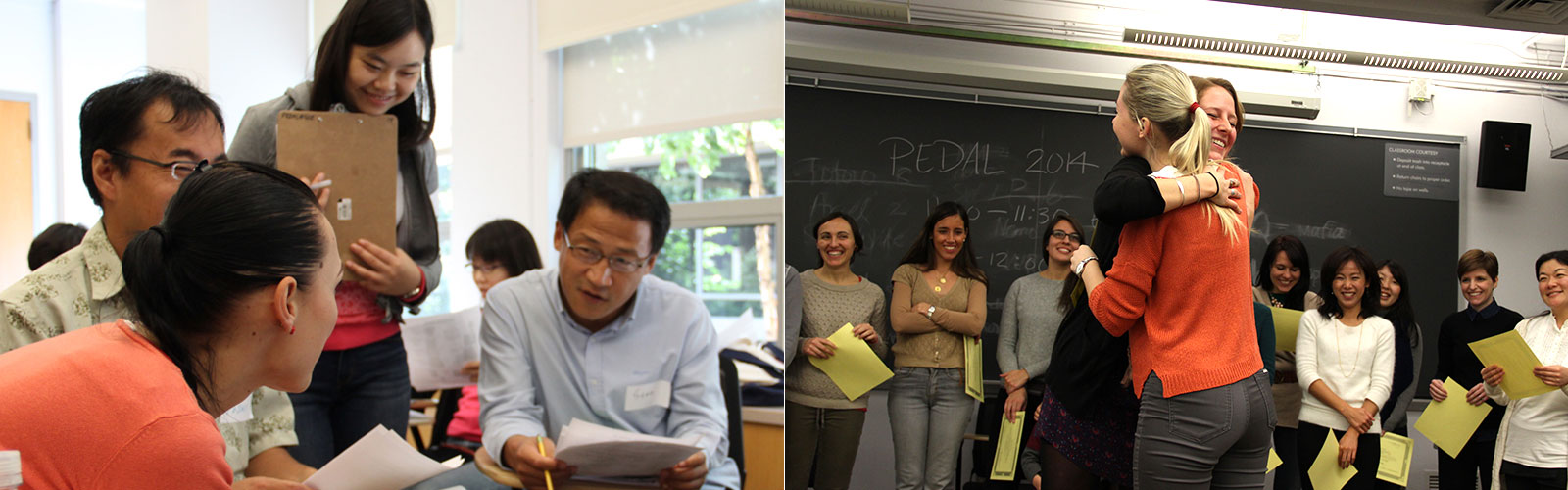 Two photos: On left, close up of three students talking with a teacher standing behind them. On right, two people hugging in classroom with classmates looking on.